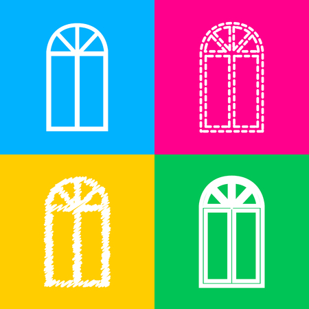 Window simple sign. Four styles of icon on four color squares.