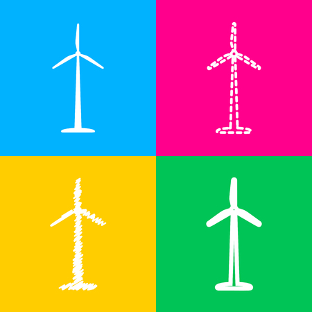 Wind turbine logo or sign. Four styles of icon on four color squares.