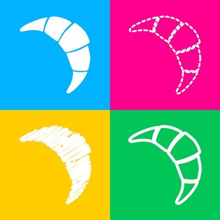 Croissant simple sign. Four styles of icon on four color squares.