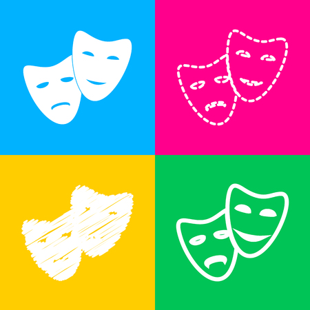 Theater icon with happy and sad masks. Flat style black icon on white. Illustration