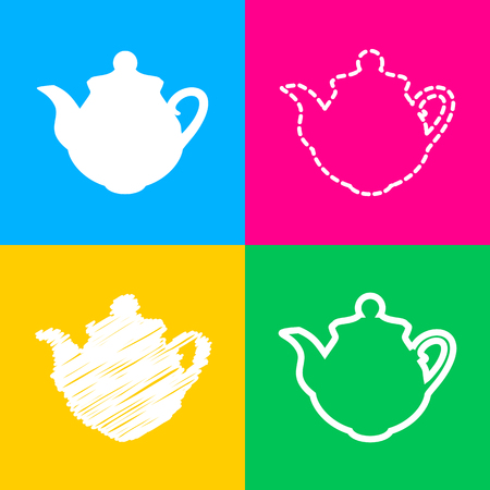 thermal: Tea maker Kitchen sign. Flat style black icon on white. Illustration