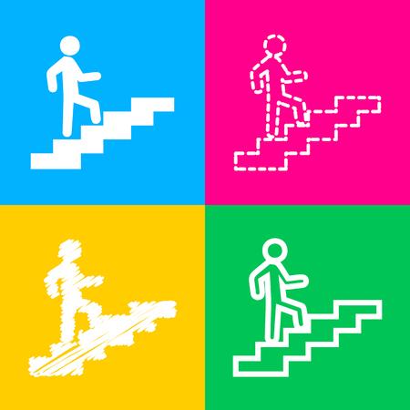 Homme sur les escaliers en remontant. Icône noire de style plat sur blanc. Vecteurs