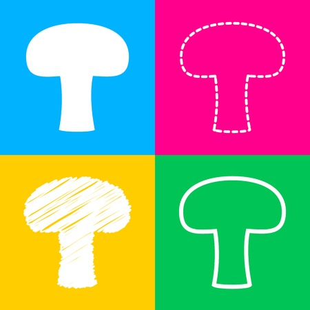 Mushroom simple sign. Four styles of icon on four color squares.
