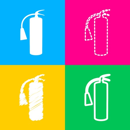 extinguishing: Fire extinguisher sign. Four styles of icon on four color squares.