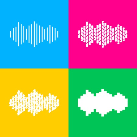 Sound waves icon. Four styles of icon on four color squares.