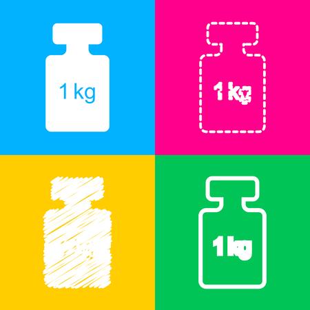 간단한 기호 무게. 네 가지 색상 사각형 아이콘의 네 가지 스타일.