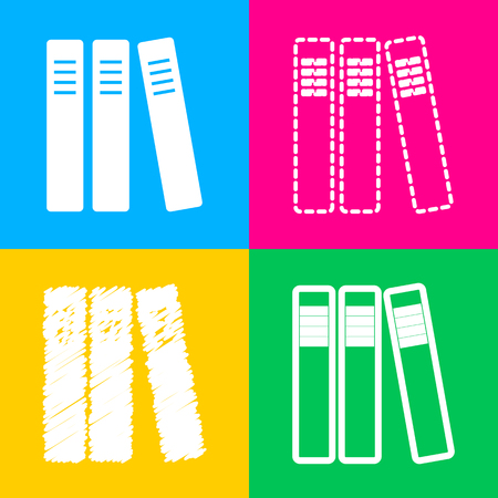 Row of binders, office folders icon. Four styles of icon on four color squares.