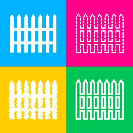 dissociation: Fence simple sign. Four styles of icon on four color squares. Illustration