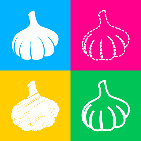 flavor: Garlic simple sign. Four styles of icon on four color squares.