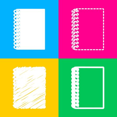 Notebook simple sign. Four styles of icon on four color squares.