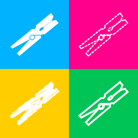 distinct: Clothes peg sign. Four styles of icon on four color squares.