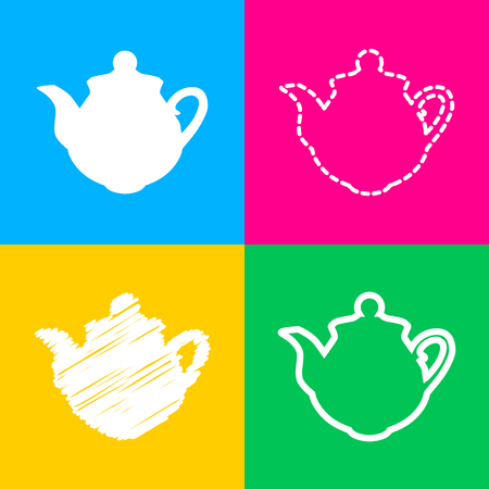 Tea maker sign. Four styles of icon on four color squares. Illustration