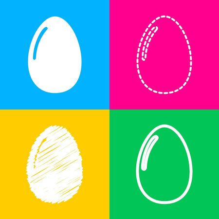 Chiken egg sign. Four styles of icon on four color squares.
