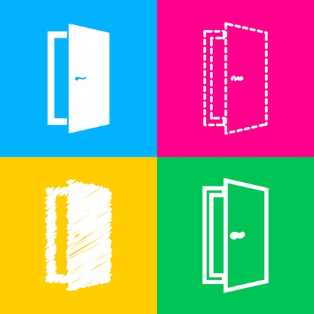 doorknob: Door sign illustration. Four styles of icon on four color squares.
