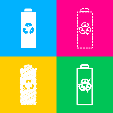 Battery recycle sign illustration. Four styles of icon on four color squares.
