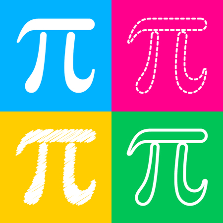 Pi greek letter sign. Four styles of icon on four color squares. Illustration