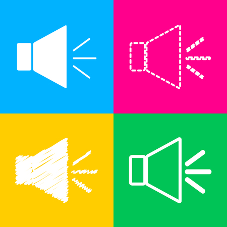 volume knob: Sound sign illustration with mute mark. Four styles of icon on four color squares.