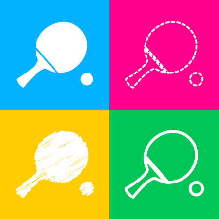 Ping pong paddle with ball. Four styles of icon on four color squares.