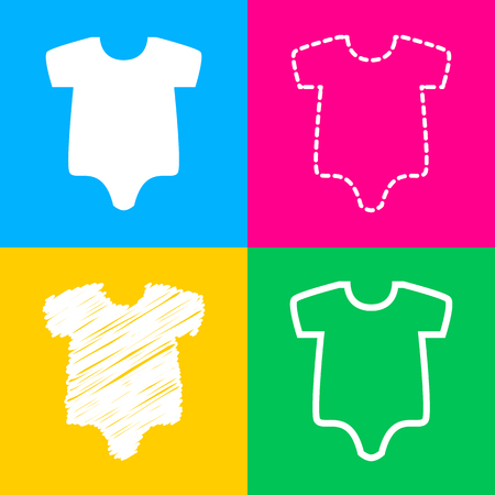Baby cloth illustration. Four styles of icon on four color squares.