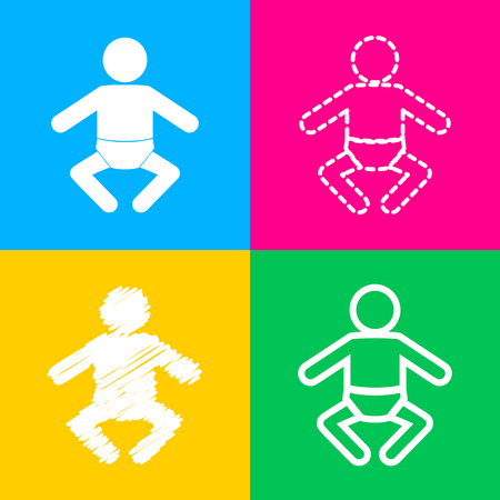 Baby sign illustration. Four styles of icon on four color squares. Illustration