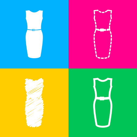 Dress sign illustration. Four styles of icon on four color squares.