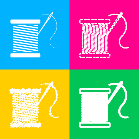 Thread with needle sign illustration. Four styles of icon on four color squares. Illustration