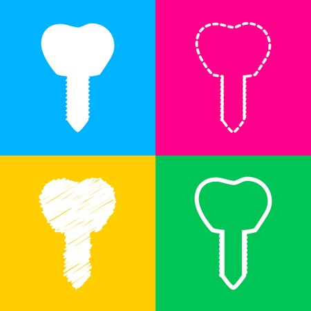 Tooth implant sign illustration. Four styles of icon on four color squares. Illustration