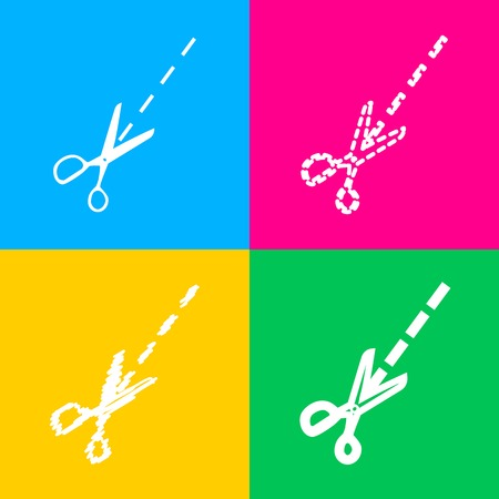 Scissors sign illustration. Four styles of icon on four color squares. Illustration