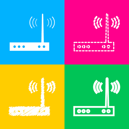 Wifi modem sign. Four styles of icon on four color squares. Illustration