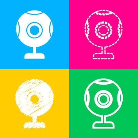 len: Chat web camera sign. Four styles of icon on four color squares.