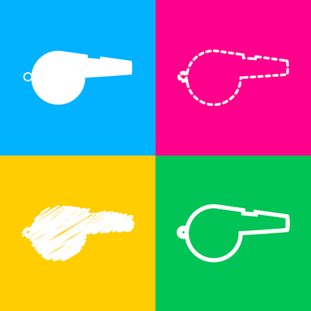 Whistle sign. Four styles of icon on four color squares.