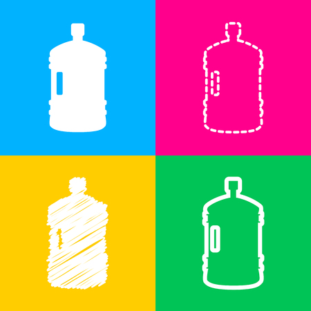 Plastic bottle silhouette sign. Four styles of icon on four color squares. Illustration