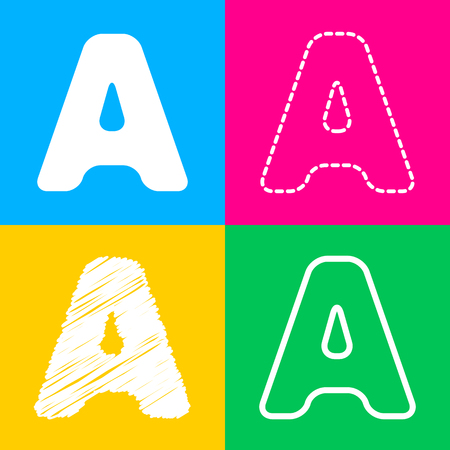 Letter A sign design template element. Four styles of icon on four color squares.
