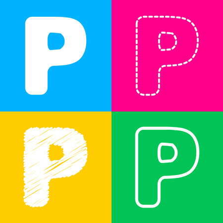 Letter P sign design template element. Four styles of icon on four color squares.