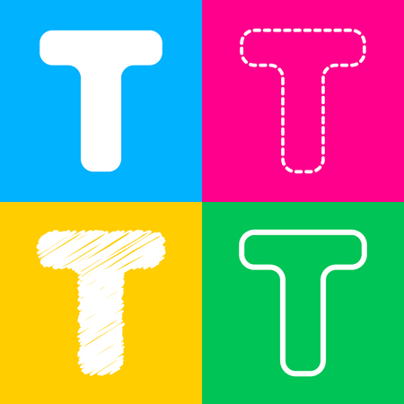 Letter T sign design template element. Four styles of icon on four color squares.