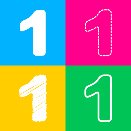 Number 1 sign design template element. Four styles of icon on four color squares.