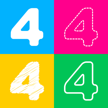 Number 4 sign design template element. Four styles of icon on four color squares.