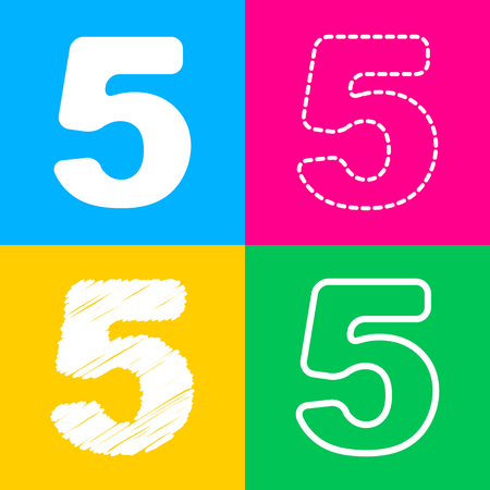 Number 5 sign design template element. Four styles of icon on four color squares.