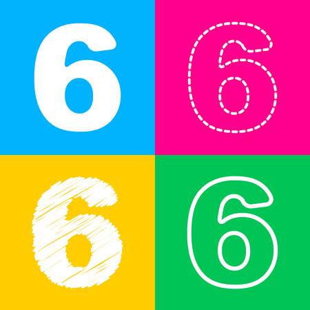 Number 6 sign design template element. Four styles of icon on four color squares. Illustration