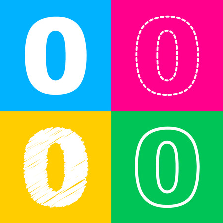 Number 0 sign design template element. Four styles of icon on four color squares. Illustration