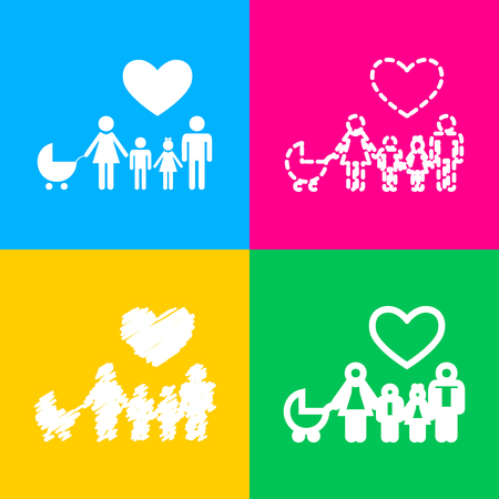 Family sign with heart. Husband and wife are kept childrens hands. Four styles of icon on four color squares. Illustration