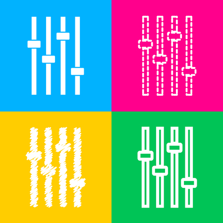 volume knob: Adjustment music line sign. Four styles of icon on four color squares. Illustration