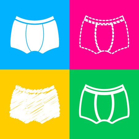 Man`s underwear sign. Four styles of icon on four color squares.