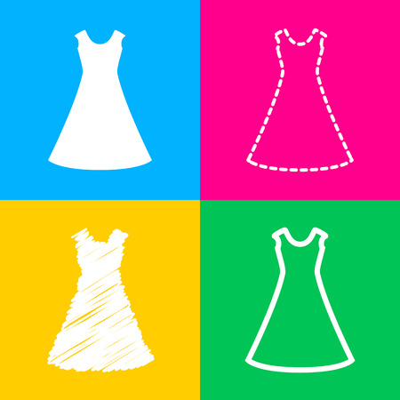beautiful long dress sign Four styles of icon on four color squares. Illustration