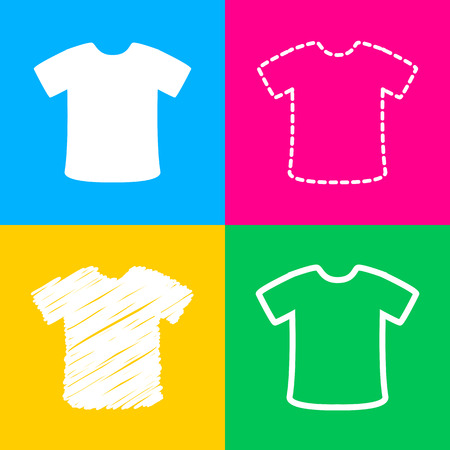T-shirt sign. Four styles of icon on four color squares. Illustration