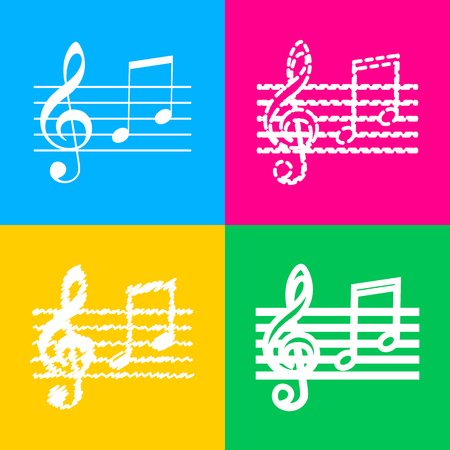 g clef: Music violin clef sign. G-clef and notes G, H. Four styles of icon on four color squares. Illustration