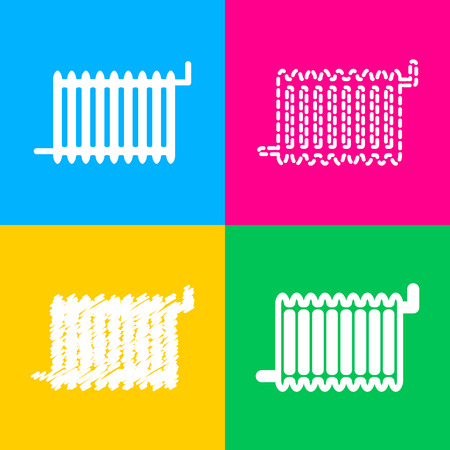 gas radiator: Radiator sign. Four styles of icon on four color squares.