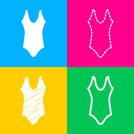 Woman`s swimsuit sign. Four styles of icon on four color squares. Stock Illustratie