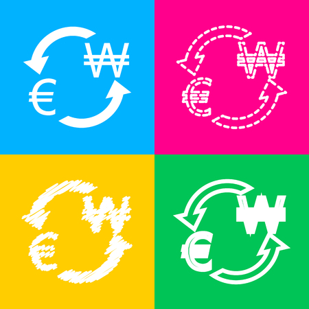 Currency exchange sign. Euro and South Korea Won. Four styles of icon on four color squares. 일러스트