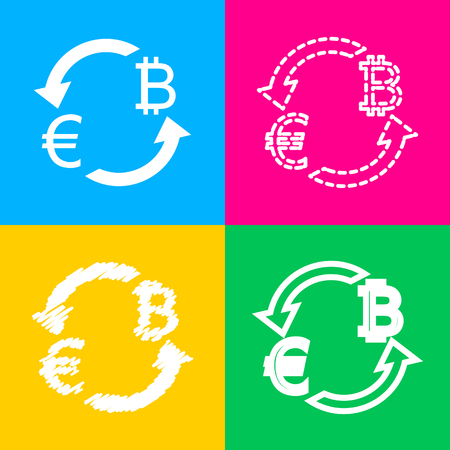 Currency exchange sign. Euro and Bitkoin. Four styles of icon on four color squares. Illustration